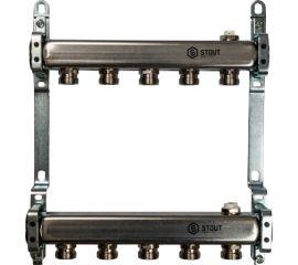Коллектор из нержавеющей стали для радиаторной разводки 5 вых.