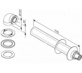 Коаксиальная труба для горизонтального выхода с ветрозащитой AZ 389